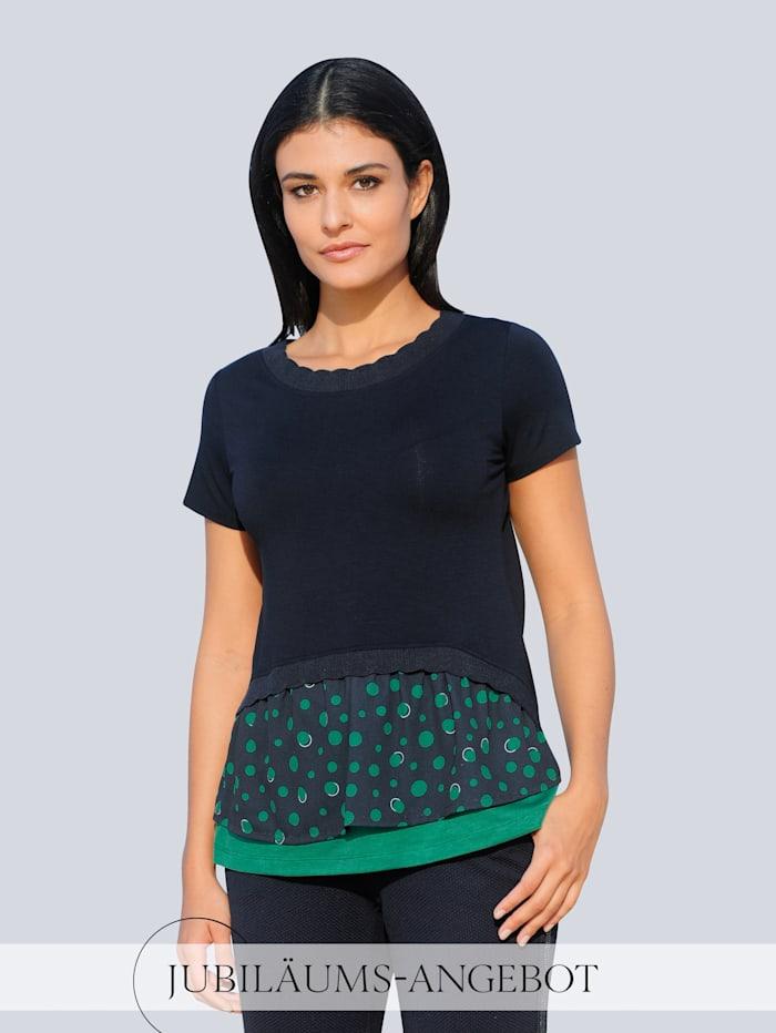 Alba Moda Shirt im Material-Mix, Marineblau/Grün