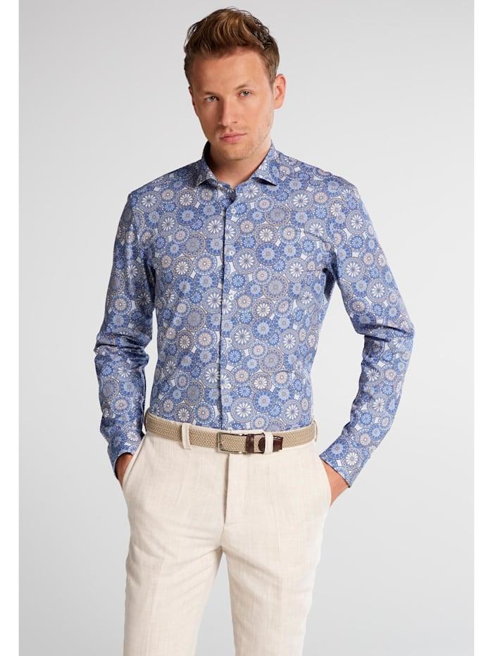 Eterna Eterna Langarm Hemd SLIM FIT, blau/beige