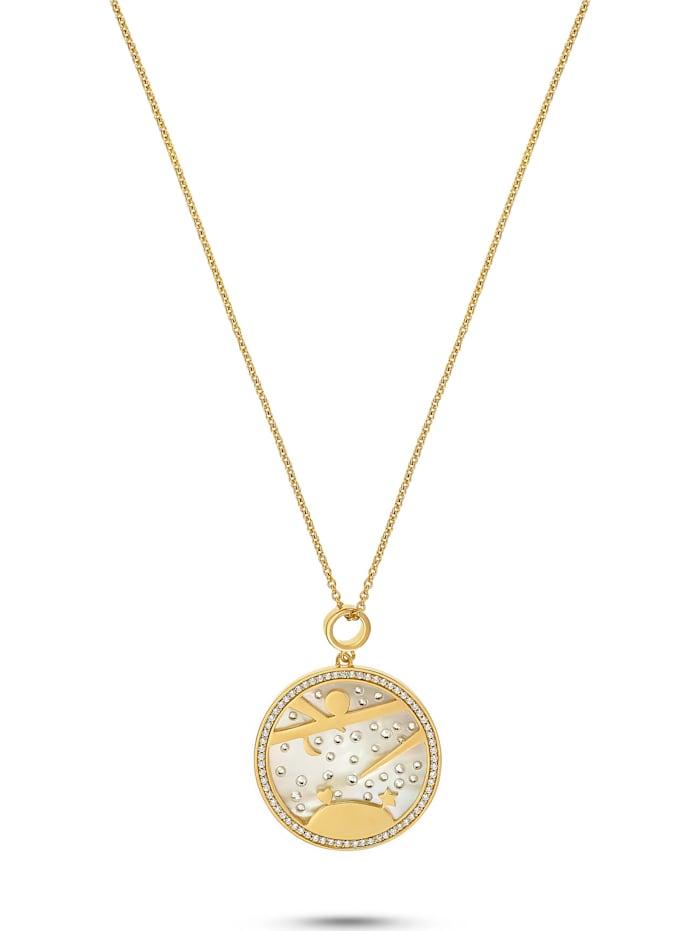 Jette JETTE Silver Damen-Kette 925er Silber 98 Zirkonia, gelbgold