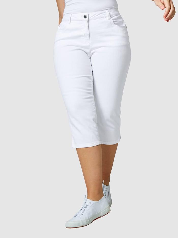 Janet & Joyce Capri džíny v 5-kapsovém stylu, Bílá