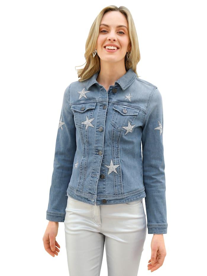 AMY VERMONT Jeansjacke mit Glitzer-Sternen vorne, Light blue