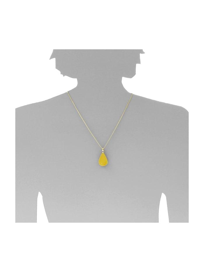 Kette mit Anhänger - Tropfen ca. 26 mm lang - Silber 925/000, vergoldet - Bernstein