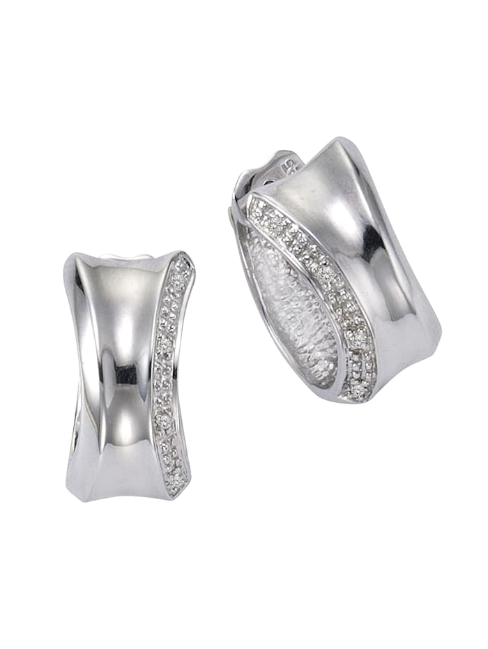 Celesta Creolen 925/- Sterling Silber Diamant weiß Diamant 1,4cm Glänzend 0,05ct 925/- Sterling Silber, weiß
