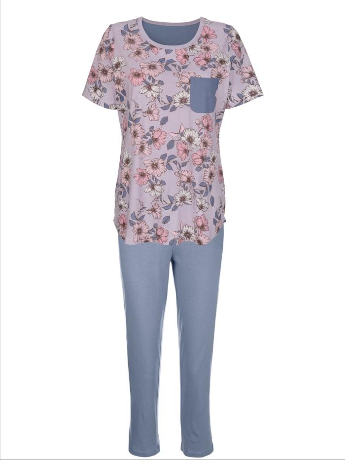 Harmony Schlafanzug mit kontrastfarbener Brusttasche, Flieder/Rauchblau