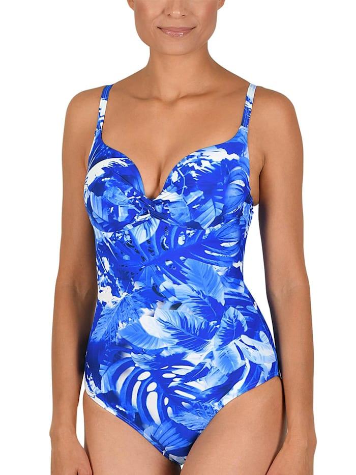 Naturana Schalen Badeanzug mit Bügel, kobaltblau-bleu-weiß