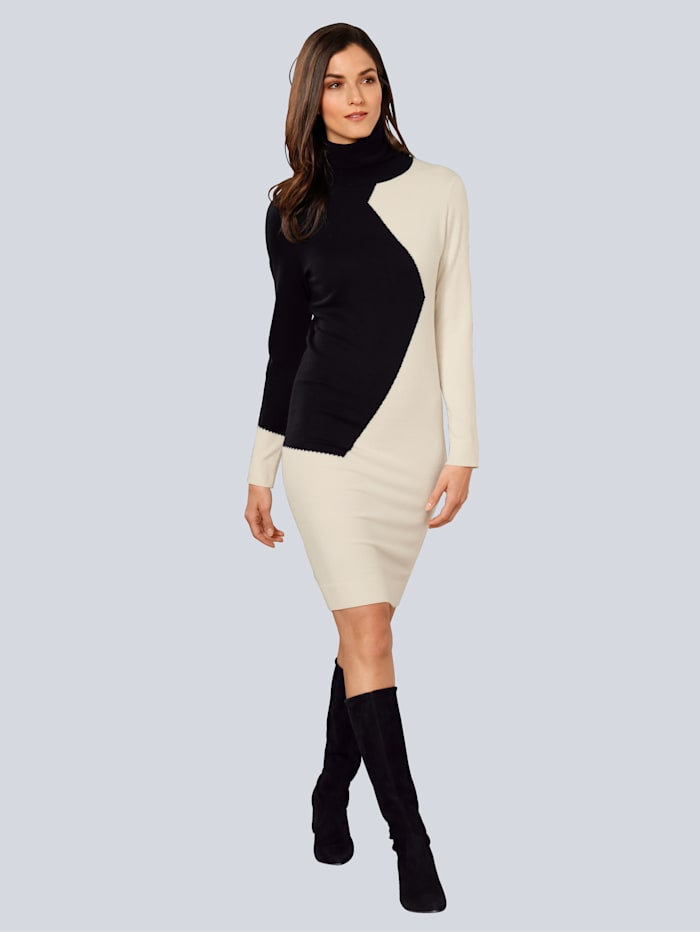 Alba Moda Kleid im Patch-Look, Schwarz/Creme-Weiß