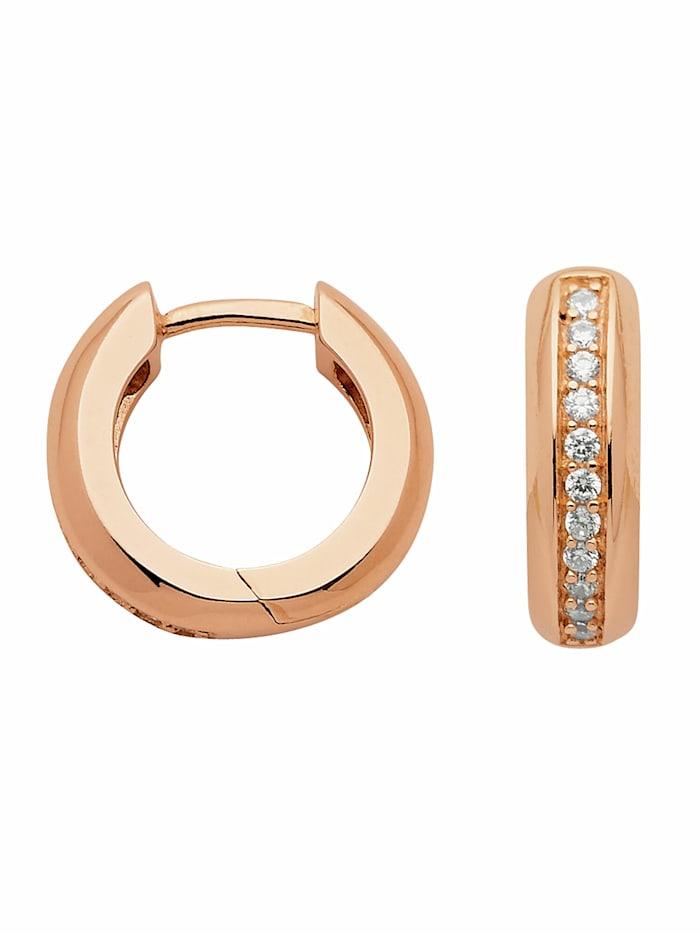 1001 Diamonds 1001 Diamonds Damen Silberschmuck 925 Silber Ohrringe / Creolen mit Zirkonia Ø 14,3 mm, rose