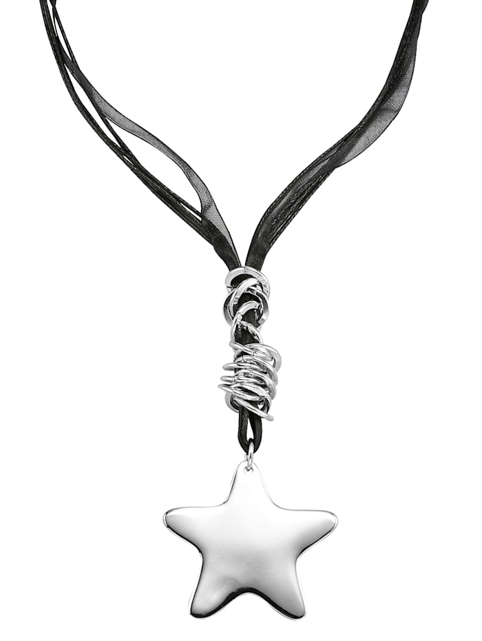 KLiNGEL Collier mit Stern, Schwarz/Silberfarben