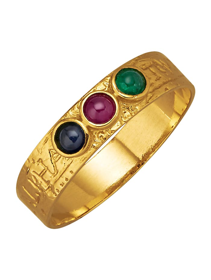 Diemer Farbstein Damenring mit Rubin, Saphir und Smaragd, Multicolor