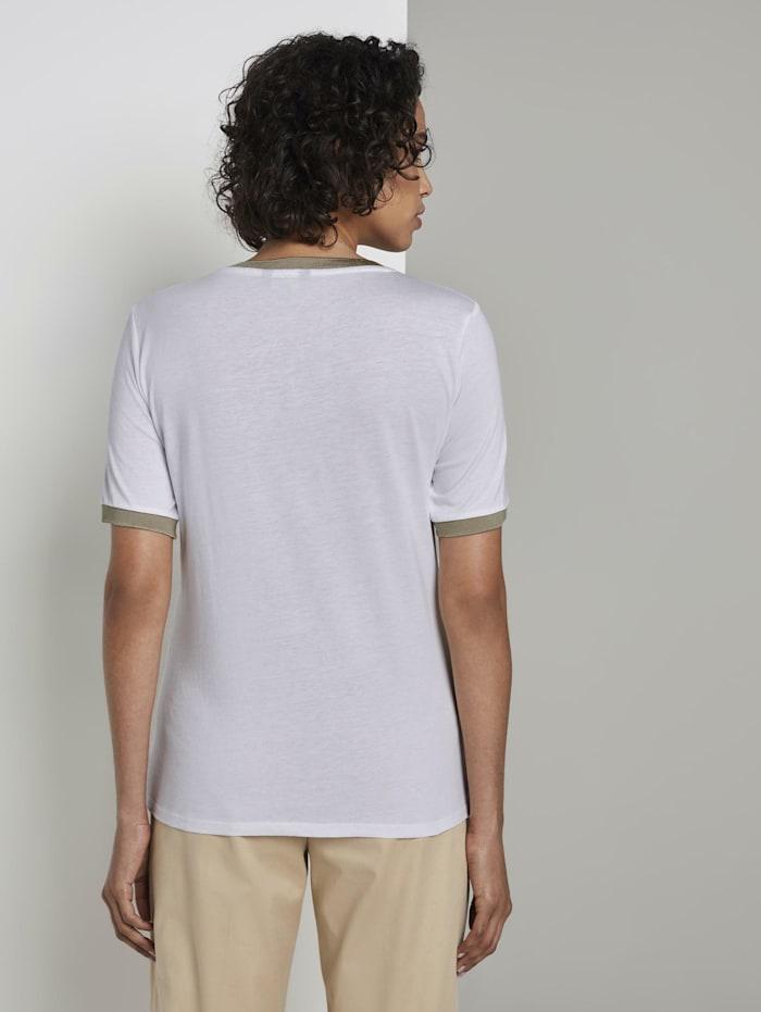 T-Shirt mit Kontrast-Blende