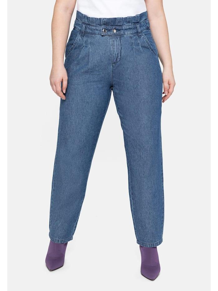Sheego Jeans im Chino-Schnitt, mit Paperbag-Bund, blue used Denim