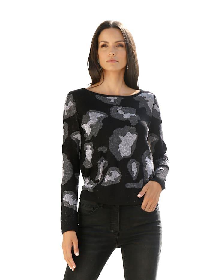 AMY VERMONT Pullover mit metallisiertem Garn, Schwarz/Silberfarben
