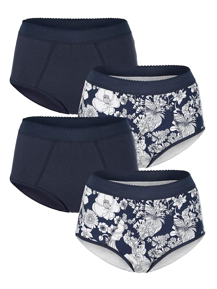 Harmony Taillenslips im 4er-Pack mit Bauchweg-Funktion, Marineblau/Weiß