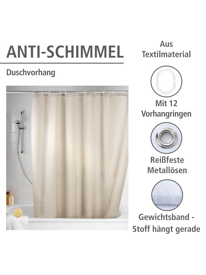 Anti-Schimmel Duschvorhang Uni Beige, Textil (Polyester), 180 x 200 cm, waschbar