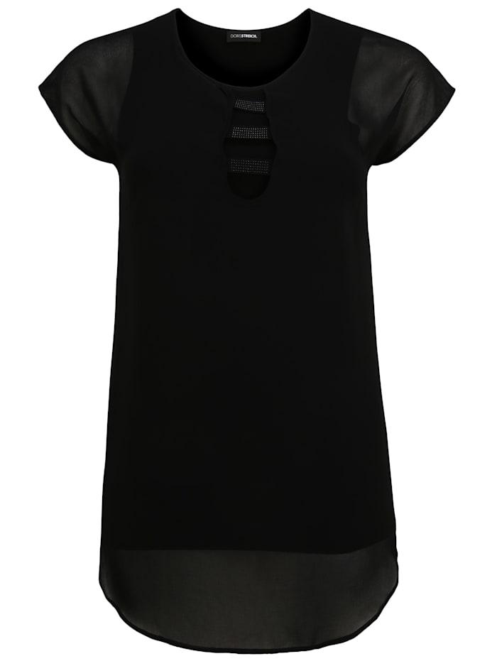 Doris Streich Bluse mit Nieten-Besatz, schwarz
