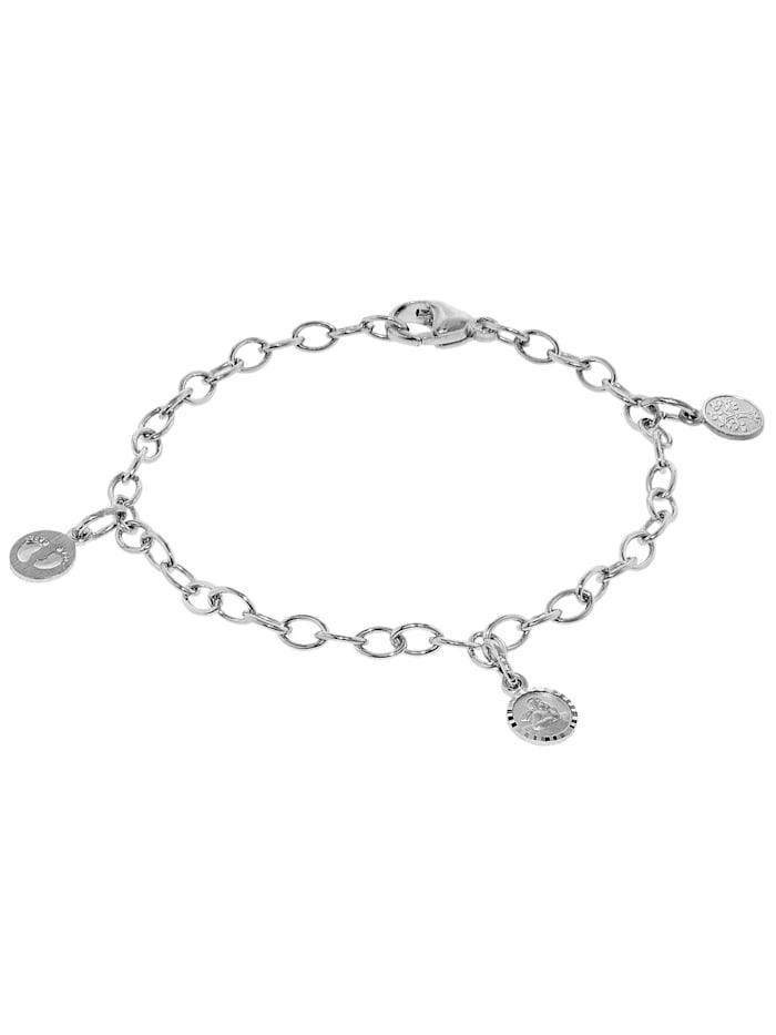 trendor Kinder-Armband mit 3 Einhängern Silber 925, Silberfarben