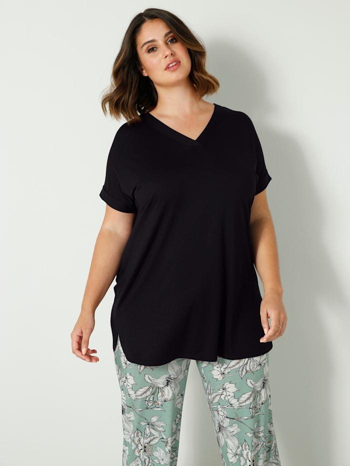 Sara Lindholm Shirt mit Blende, Schwarz