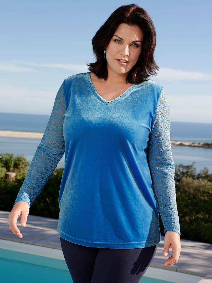 m. collection Shirt mit Ärmeln aus Spitze, Blau