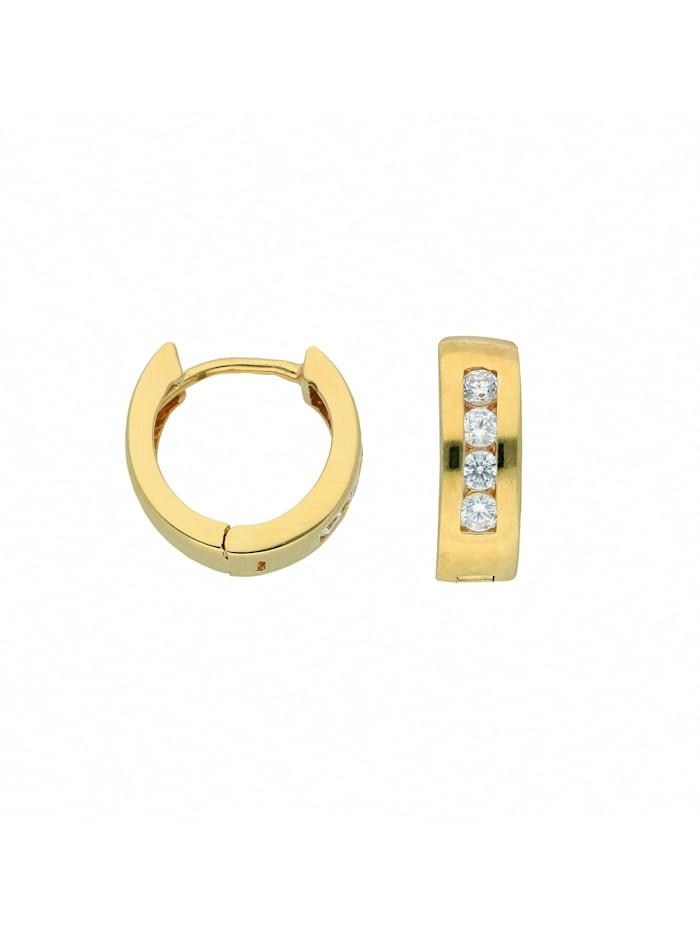 1001 Diamonds Damen Goldschmuck 333 Gold Ohrringe / Creolen mit Zirkonia Ø 12 mm, gold