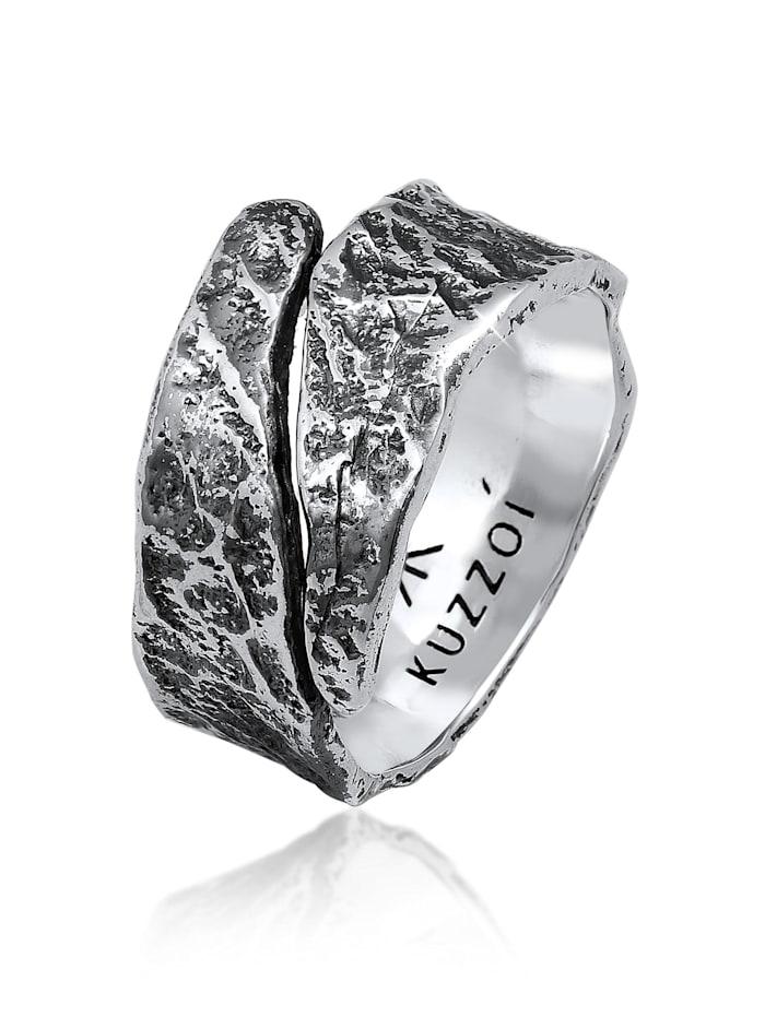 Kuzzoi Ring Bandring Struktur Used Look 925 Silber, Schwarz