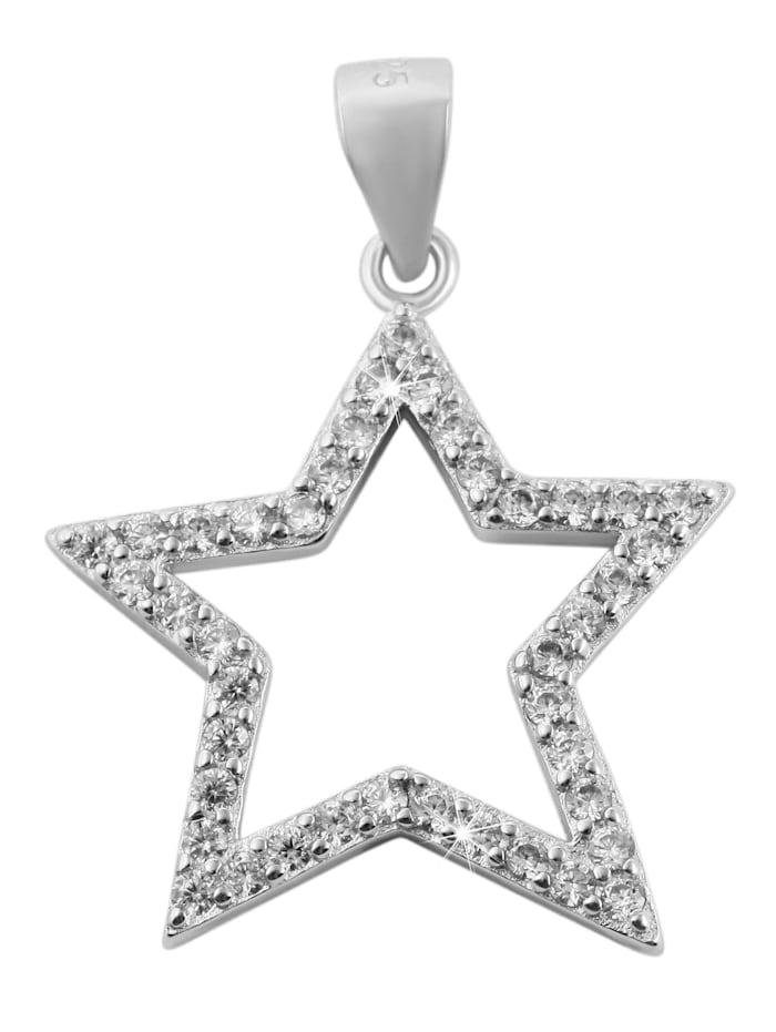 1001 Diamonds Damen Anhänger Stern aus 925 Silber mit Zirkonia, silber