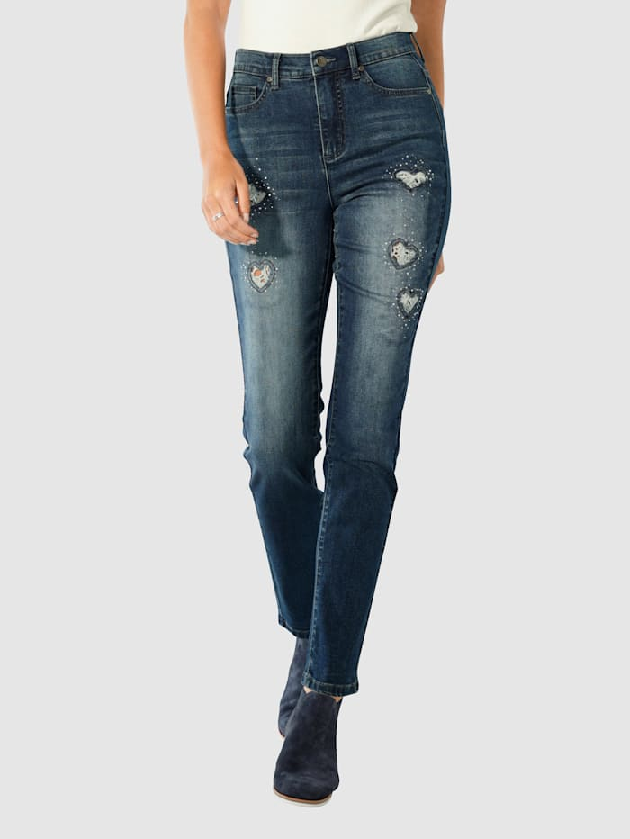 Paola Jeans med hjerteformede cut-outs, Blue stone