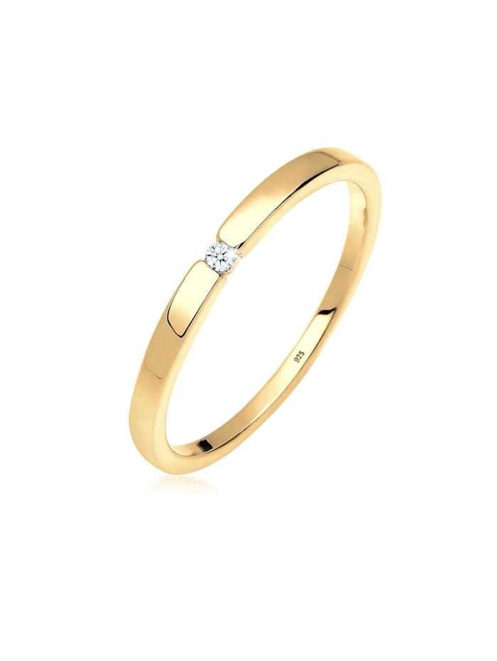 DIAMORE Ring Verlobungsring Klassiker Diamant (0.015 Ct.)Silber, Gold