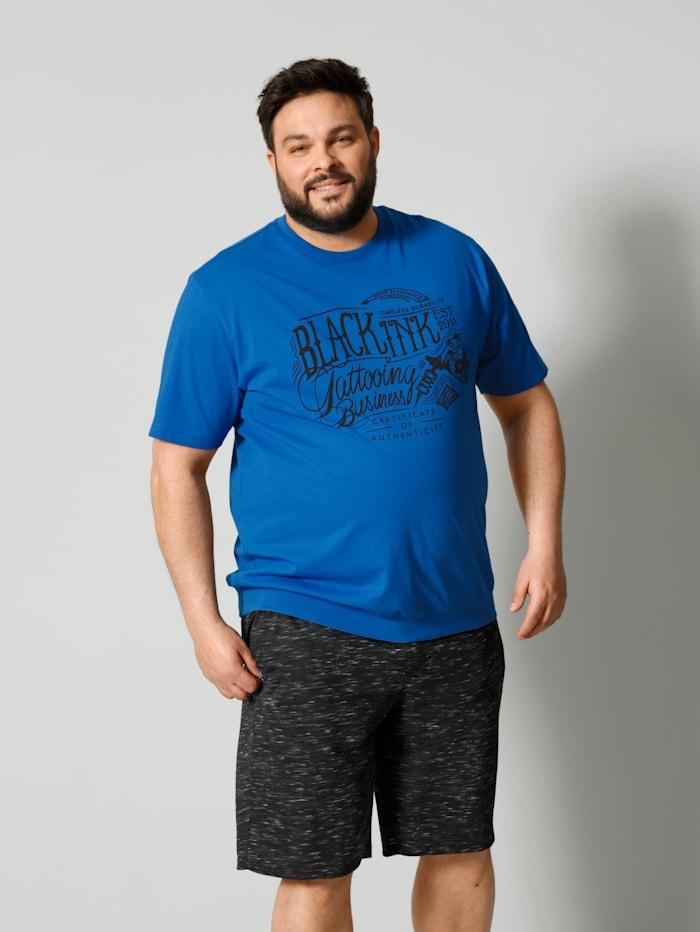 Men Plus T-Shirt Spezialschnitt, Royalblau/Schwarz