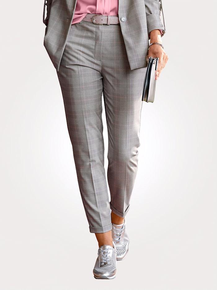 MONA Pantalon 7/8 à motif Prince de Galles, Gris/Rose/Blanc