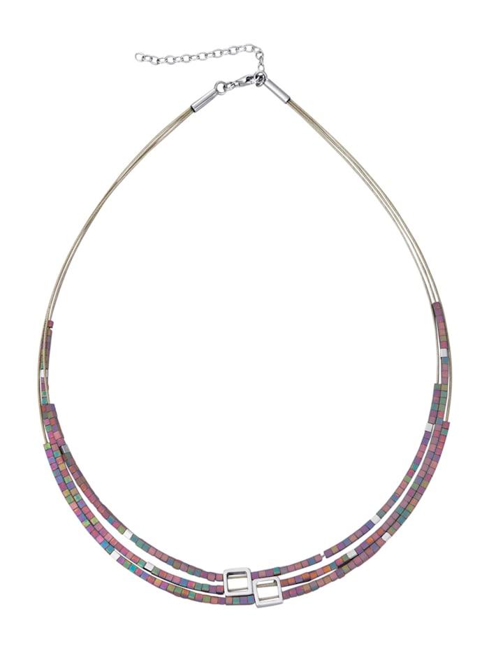 Diemer Trend 3rhg. Collier mit Hämatit, Multicolor