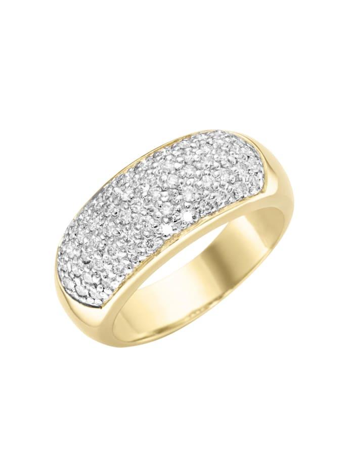 Luigi Merano Ring mit Brillanten, Gold 585, Goldfarbig, silberfarbig, bicolor