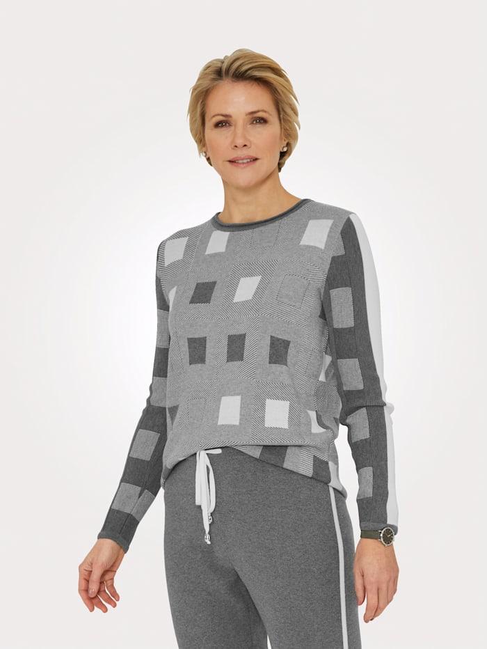 MONA Pullover in trageangenehmer Jaquard-Qualität, Grau/Natur