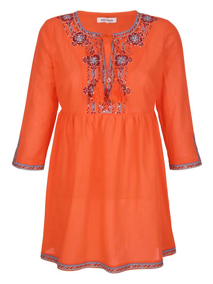 Alba Moda Bluse mit verziertem Ausschnitt, Orange
