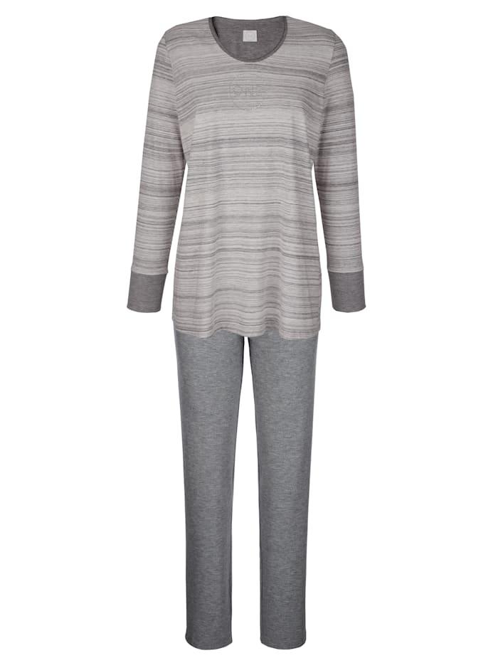 Hutschreuther Pyjama à motif en pierres fantaisie, Gris/Écru