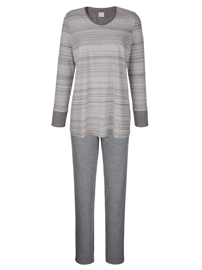 Hutschreuther Pyjama met fonkelend steentjesmotief, Grijs/Ecru
