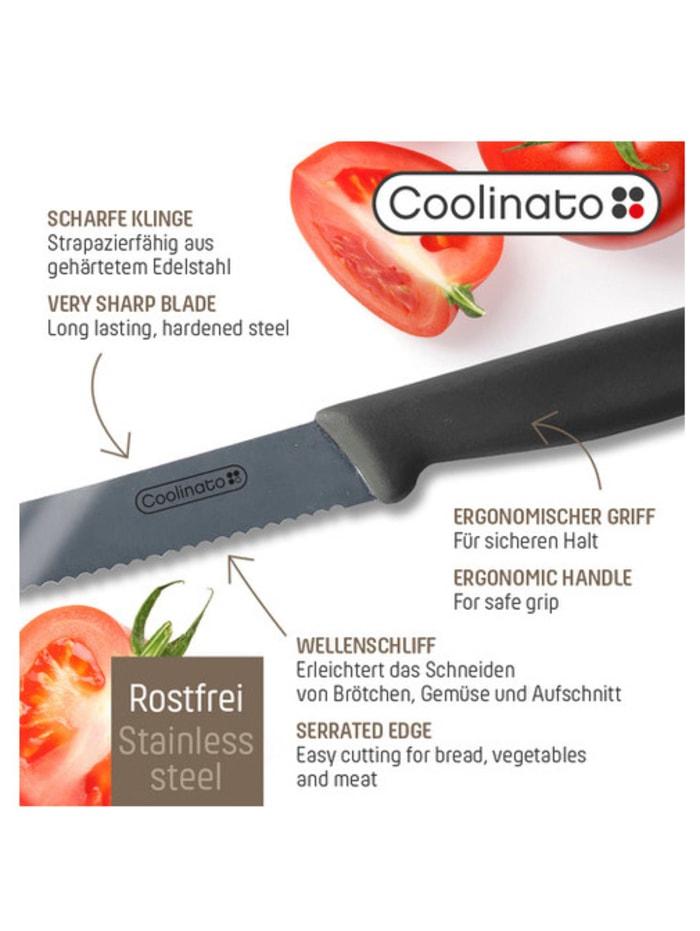 Lot de 6 couteaux - longueur de la lame env. 11 cm - ultra tranchants avec finition dentelée