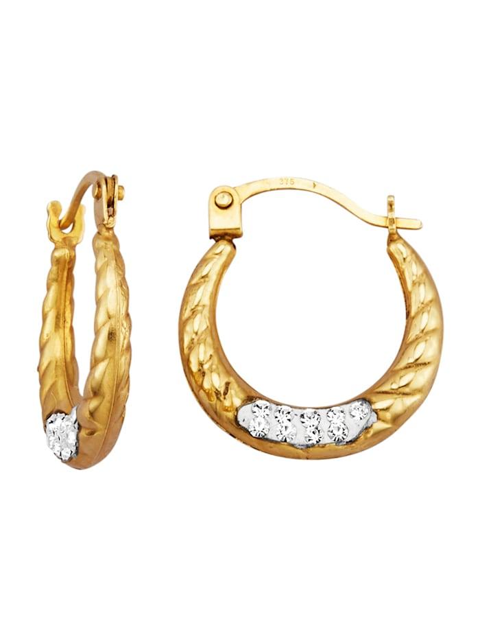 Øreringer med Swarovski-krystaller, Gullfarget