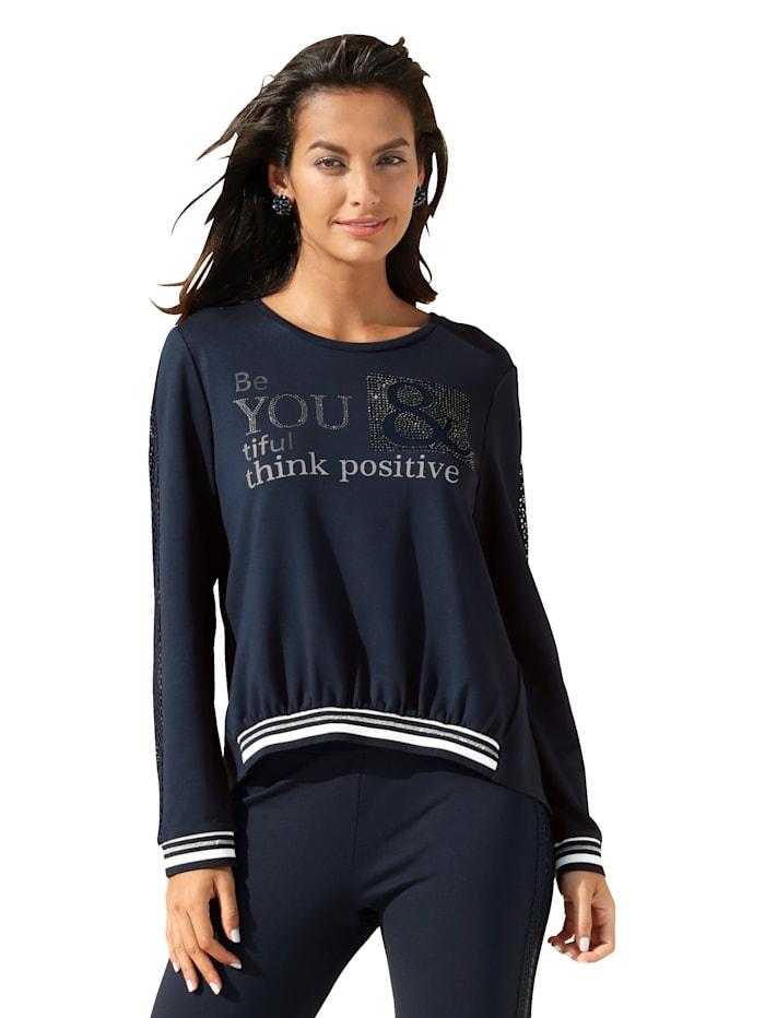 Betty Barclay Sweatshirt mit Schriftzug und Steinchen im Vorderteil, Dunkelblau