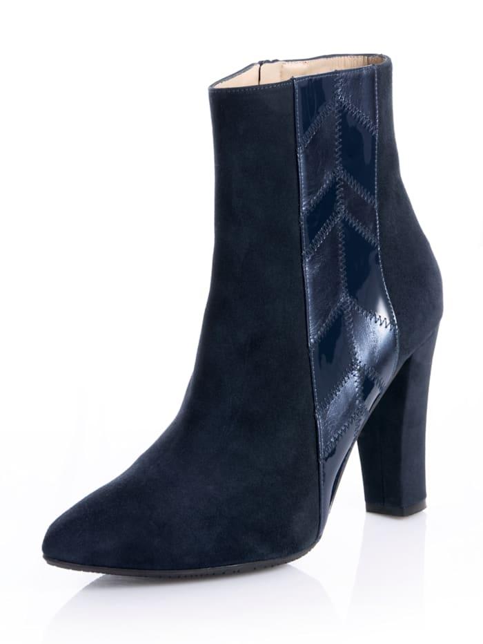 Alba Moda Stiefelette aus weichem Ziegenveloursleder, Marineblau