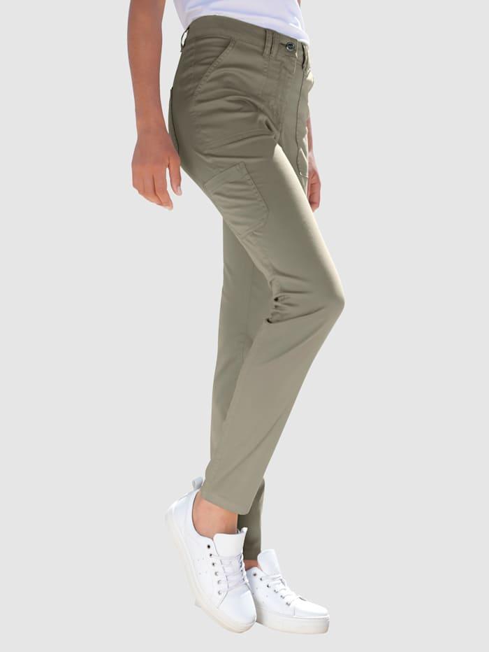 Dress In Byxor i modell Sabine extra slim, Grönbeige