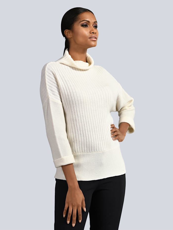 Alba Moda Pullover aus wunderbar weichem Material-Mix, Creme-Weiß