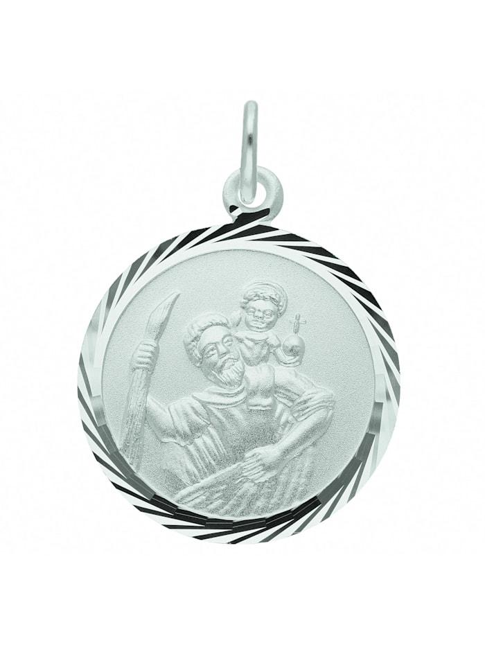 1001 Diamonds Damen Silberschmuck 925 Silber Anhänger Christophorus Ø 16 mm, silber