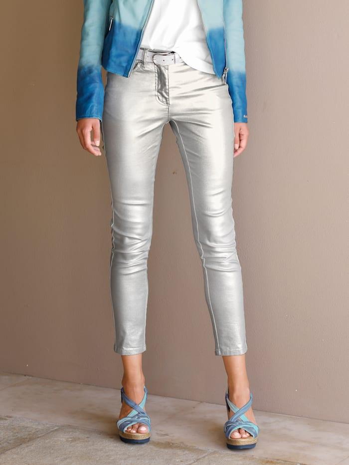 AMY VERMONT Broek in metallic look, Zilverkleur/Wit