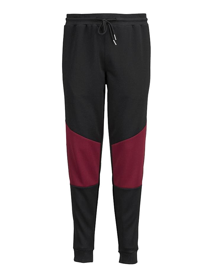 Men Plus Jogginghose Spezialschnitt, Schwarz/Bordeaux