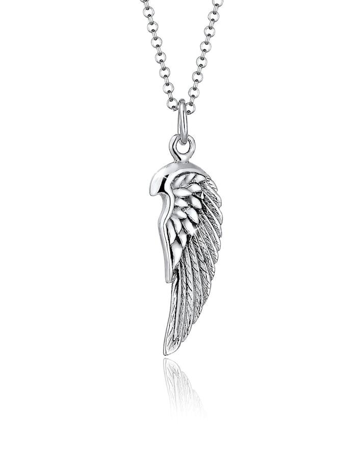 Kuzzoi Halskette Flügel Rock Boho Cool 925 Sterling Silber, Grau