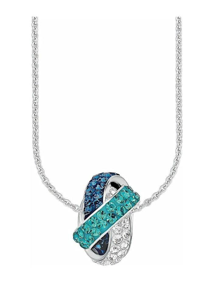 amor Kette mit Anhänger für Damen 45 cm aus 925 Sterling Silber rhodiniert veredelt mit Kristallen, Blau