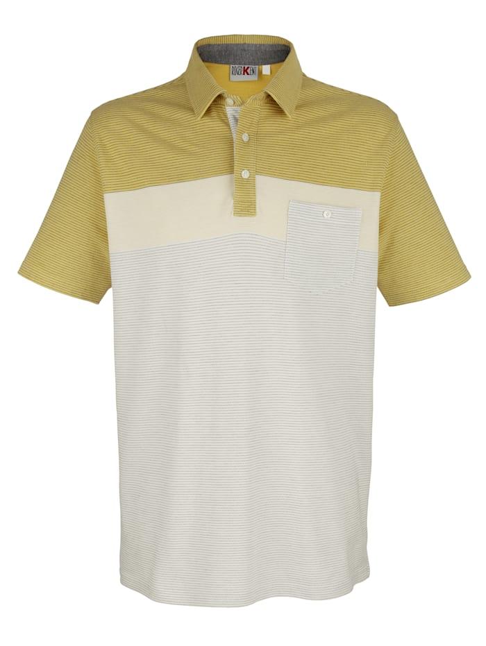 Roger Kent Poloshirt mit garngefärbtem Streifenmuster, Limettengrün/Weiß