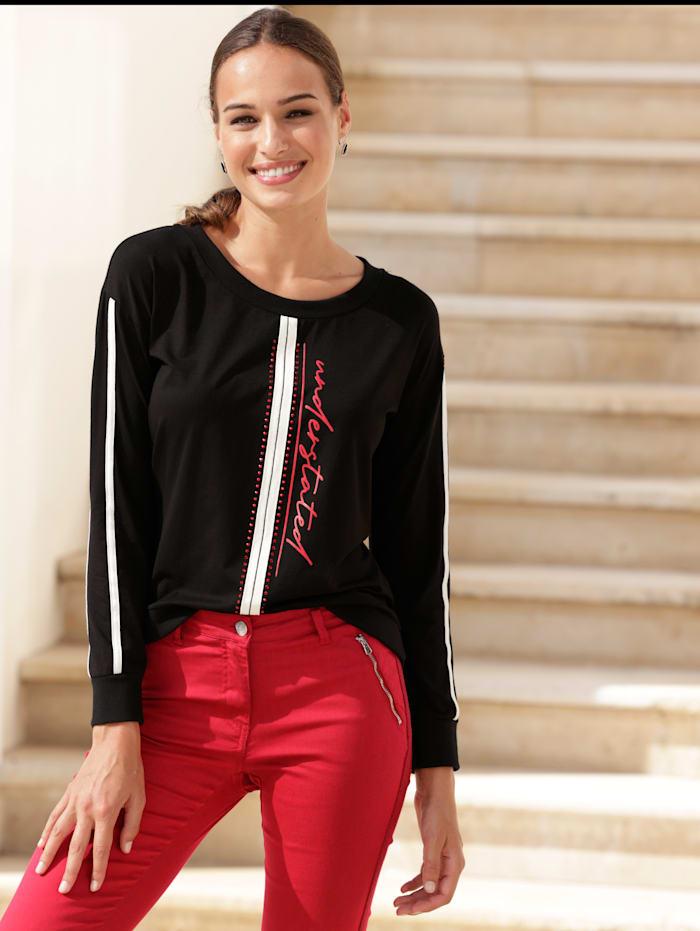 AMY VERMONT Sweatshirt mit Schriftzug im Vorderteil, Schwarz/Rot/Weiß