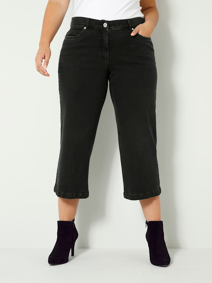Sara Lindholm Jeans van licht elastisch denimmateriaal, Zwart
