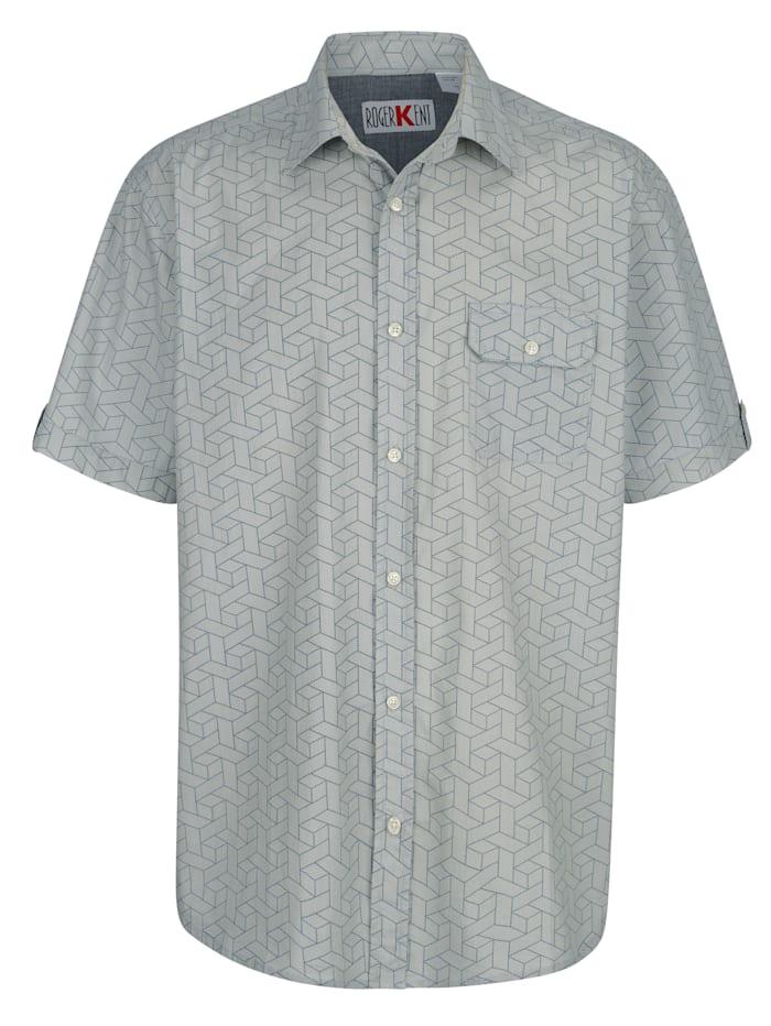 Roger Kent Overhemd met print rondom, Blauw
